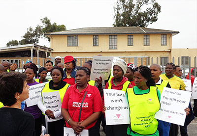 Activists protest outside the Phillipi Magistrates Court on Wednesday
