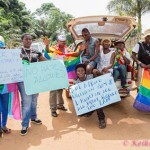 POLICE PROTECT  UGANDA GAY PRIDE MARCHERS
