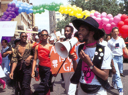 Simon Nkoli at the first Johannesburg Pride march