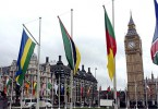 Flags of the Commonwealth flying in  London