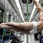 Male dancers model underwear in streets of Madrid