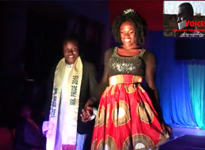 The Pride Uganda pageant  moments before the raid.