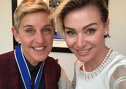DeGeneres and wife Portia De Rossi  (Twitter / Ellen DeGeneres)
