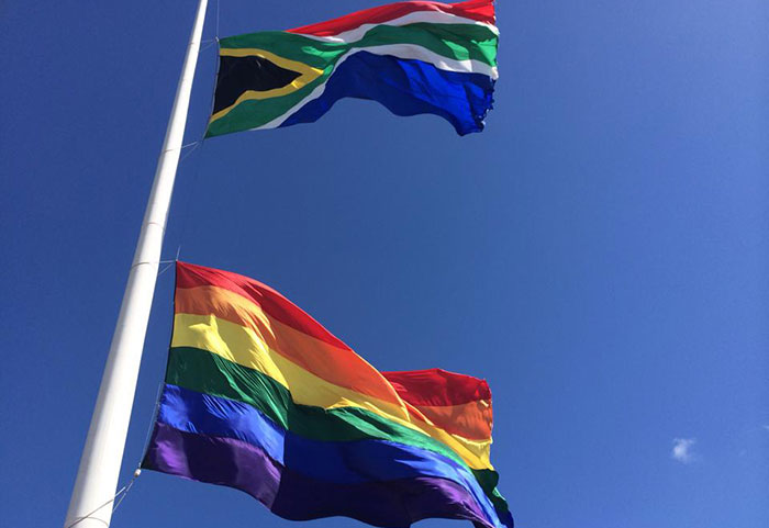 Africa s biggest gay rainbow flag flies in PE