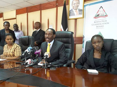 KFCB Chief Executive of KFCB Ezekiel Mutua (centre) banned the video last month