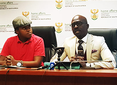 Joshua Sehoole, from Iranti-org, with Minister Gigaba
