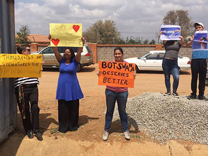Protesters outside Anderson's church in Gaberone