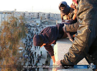 A man is thrown to his death by Isis in Mosul