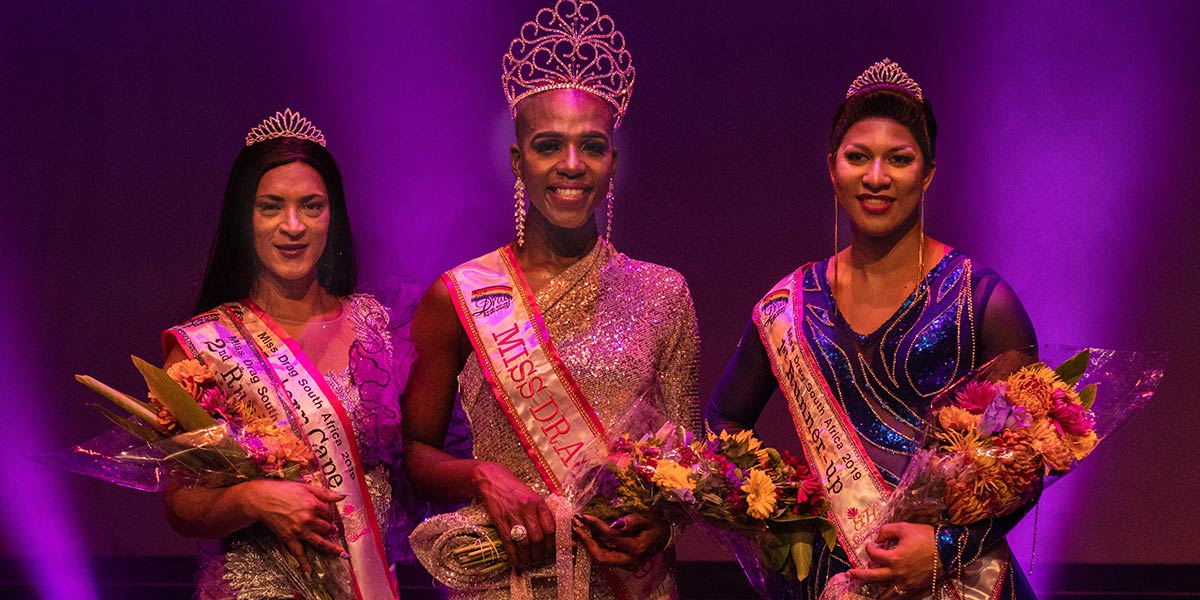 The Miss Drag South Africa 2019 top three